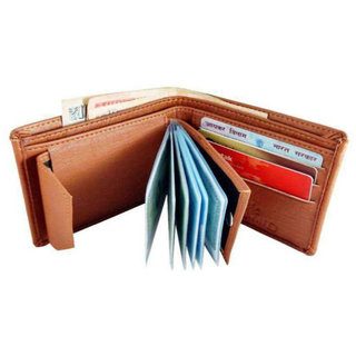Eagle Buzz Men Tan Artificial Leather Wallet (e4) (Synthetic leather/Rexine)