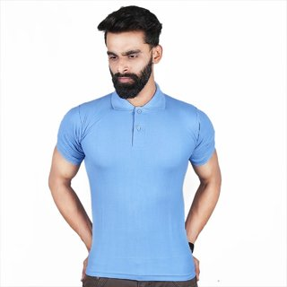 The Royal Swag Men's Cotton Tshirt-Sky Blue Polo