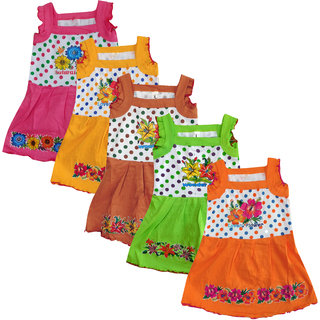 Meia for girls Multi color Sleeveless Frock (Pack of 5)
