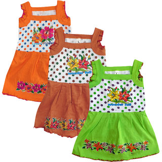Meia for girls Multi color Sleeveless Frock (Pack of 3)
