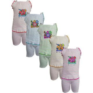 Meia for girls White Sleeveless Top  Bottom Set (Pack of 5)
