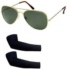 Stylish Combo Aviator Green With 1 Pair Black Arm Sleevs