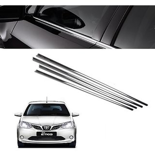 Trigcars Toyota Etios New Car Window Lower Garnish chrome