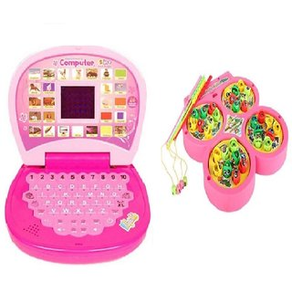 Combo of English Mini screen Laptop with Musical Fish Catching Game for kids