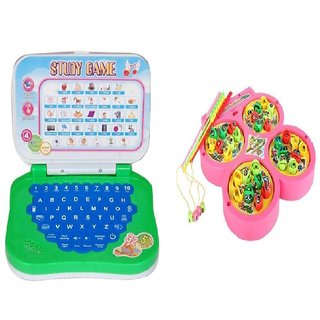 New Pinch Combo of English Mini Laptop with Musical Fish Catching Game for kids