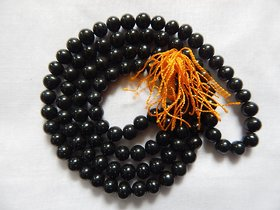 Original KALA Agate or Kala Hakik Black Mala 8 MM for Pooja Healing Japa Mala