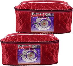 BULBUL RED SATIN SAREE COVERS -2 Pcs