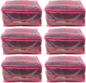 BULBUL PINK  DOUBLE LAYERED WITH NET AND HEAVY PLASTIC SAREE COVERS - 6 PCS