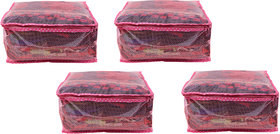 BULBUL PINK  DOUBLE LAYERED WITH NET AND HEAVY PLASTIC SAREE COVERS - 4 PCS
