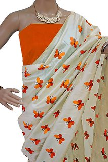 Indian Style Sarees New Arrivals Latest Women's Priyanka Chopra Cream Zarna Silk ButterflyEmbroidered Bollywood Designer