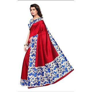 kalam kuri cotton silk saree red and blue  by vatsla enterprise