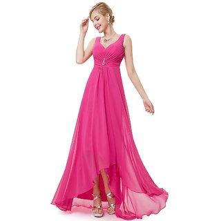 Raabta Rani Pink Cut Sleeve Long Dress With Front Brooch