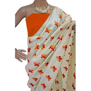 Indian Style Sarees New Arrivals Latest Women's  Cream Zarna Silk ButterflyEmbroidered Bollywood Designer