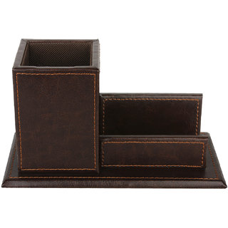 Brown Pen Holder with visiting card holder