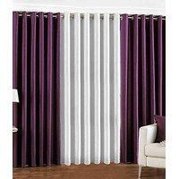 Plain Eyelet Curtain 5 Feet ( Set Of 3 )Purple & White