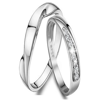 SILVERISH 92.5 Silver Couple Band Platinum Plated Silver Ring Set SCBR106-P