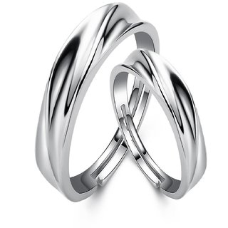 SILVERISH 92.5 Silver Couple Band Platinum Plated Silver Ring Set SCBR122-P