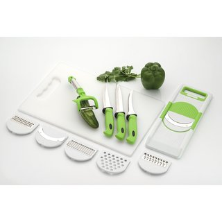 Jen 6 in 1 slicer 1 Medium Chopping board 3 knife 1 peeler Kitchen Tool Set (Green Pack Of 6)