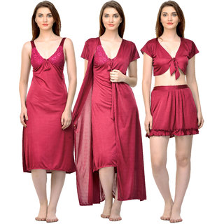 Boosah Women's Maroon Satin Solid  Top &  Skirt &  Robe &  Nighty