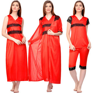 Buy Boosah Women s Red Satin Solid Top   Capri   Robe   Nighty ... 0bfdd393c