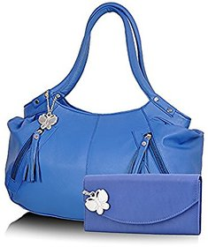 Butterflies Blue Plain Handbag
