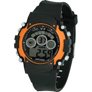 Sports Multi Color Light Digital Orange Wrist Watch for boys and kids