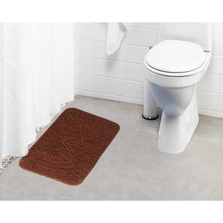 Lushomes Golden Brown Thick and fluffy 1800 GSM bathmat with High Pile Microfiber (15 x 24  Single Pc)