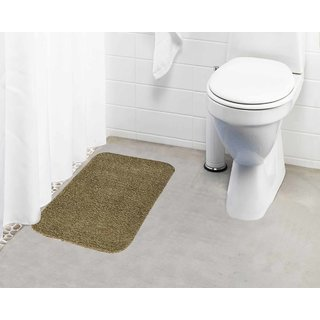 Lushomes Beige Thick and fluffy 1800 GSM bathmat with High Pile Microfiber (15 x 24  Single Pc)