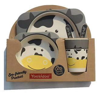 Yookidoo Eco friendly set of 5 table ware for kids - Cow theme