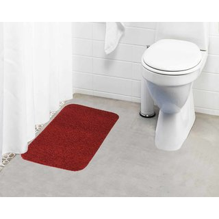 Lushomes Maroon Thick and fluffy 1800 GSM bathmat with High Pile Microfiber (15 x 24  Single Pc)