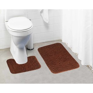 Lushomes Golden Brown Thick and fluffy 1800 GSM bathmat with High Pile Microfiber (Bathmat: 15 x 24  Contour: 15 x 16 )