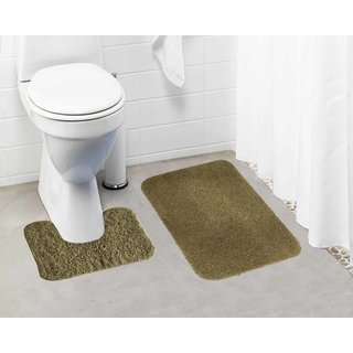 Lushomes Beige Thick and fluffy 1800 GSM bathmat with High Pile Microfiber (Bathmat:15 x 24  Contour: 15 x 16 )