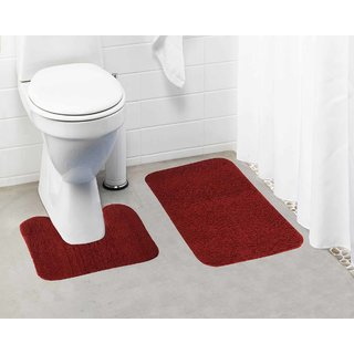 Lushomes Maroon Thick and fluffy 1800 GSM bathmat with High Pile Microfiber (Bathmat:15 x 24  Contour: 15 x 16 )