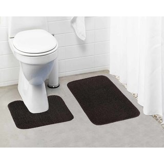 Lushomes Chocolate Brown Thick and fluffy 1800 GSM bathmat with High Pile Microfiber (Bathmat:15 x 24  Contour: 15 x 16