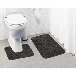 Lushomes Grey Thick and fluffy 1800 GSM bathmat with High Pile Microfiber (Bathmat:15 x 24  Contour: 15 x 16 )