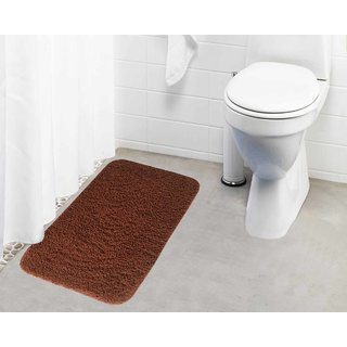 Lushomes Golden Brown Thick and fluffy 1800 GSM bathmat with High Pile Microfiber (19 x 30  Single Pc)