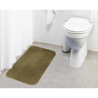 Lushomes Beige Thick and fluffy 1800 GSM bathmat with High Pile Microfiber (19 x 30  Single Pc)