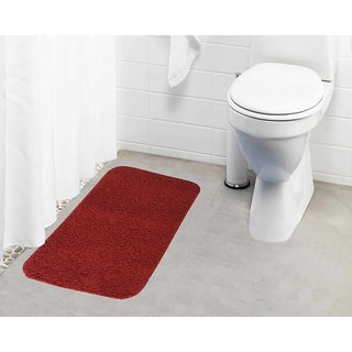 Lushomes Maroon Thick and fluffy 1800 GSM bathmat with High Pile Microfiber (19 x 30  Single Pc)