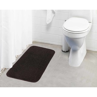 Lushomes Chocolate Brown Thick and fluffy 1800 GSM bathmat with High Pile Microfiber (19 x 30  Single Pc)