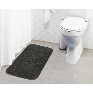 Lushomes Grey Thick and fluffy 1800 GSM bathmat with High Pile Microfiber (19 x 30  Single Pc)