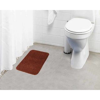 Lushomes Golden Brown Thick and fluffy 1800 GSM bathmat with High Pile Microfiber (12 x 18  Single Pc)