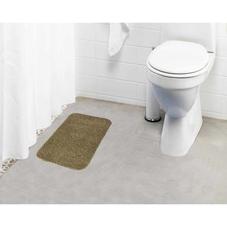 Lushomes Beige Thick and fluffy 1800 GSM bathmat with High Pile Microfiber (12 x 18  Single Pc)