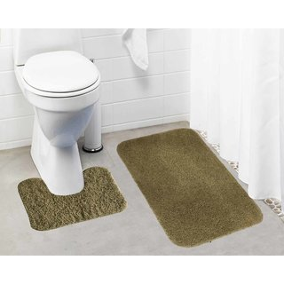 Lushomes Beige Thick and fluffy 1800 GSM bathmat with High Pile Microfiber (Bathmat: 19 x 30  Contour: 19 x 18 )