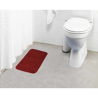 Lushomes Maroon Thick and fluffy 1800 GSM bathmat with High Pile Microfiber (12 x 18  Single Pc)