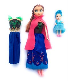 Frozen  Anna Doll with Small Doll  MirrorComb 8 Pair of Shoes and Other Acessories