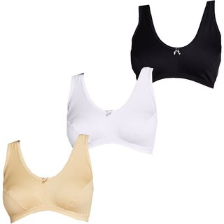 Lady Club Crop Top Cotton Sports Brassiere (Pack of 3)