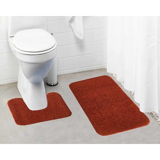 Lushomes Tan Thick and fluffy 1800 GSM bathmat with High Pile Microfiber (Bathmat: 19 x 30  Contour: 19 x 18 )