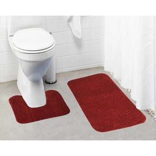 Lushomes Maroon Thick and fluffy 1800 GSM bathmat with High Pile Microfiber (Bathmat: 19 x 30  Contour: 19 x 18 )