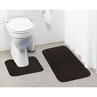 Lushomes Chocolate Brown Thick and fluffy 1800 GSM bathmat with High Pile Microfiber (Bathmat: 19 x 30  Contour: 19 x 18 )