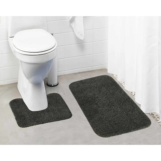 Lushomes Grey Thick and fluffy 1800 GSM bathmat with High Pile Microfiber (Bathmat: 19 x 30  Contour: 19 x 18 )